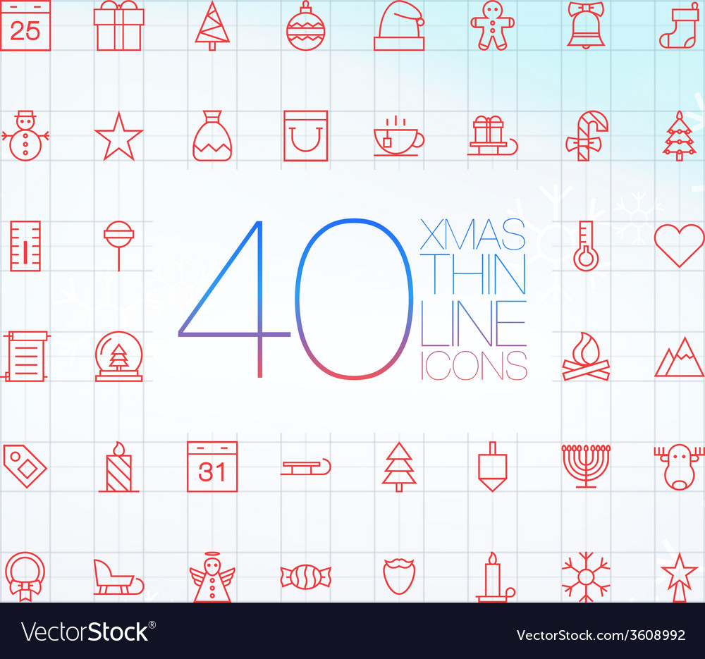 40 trendy thin merry christmas icons vector | Price: 1 Credit (USD $1)