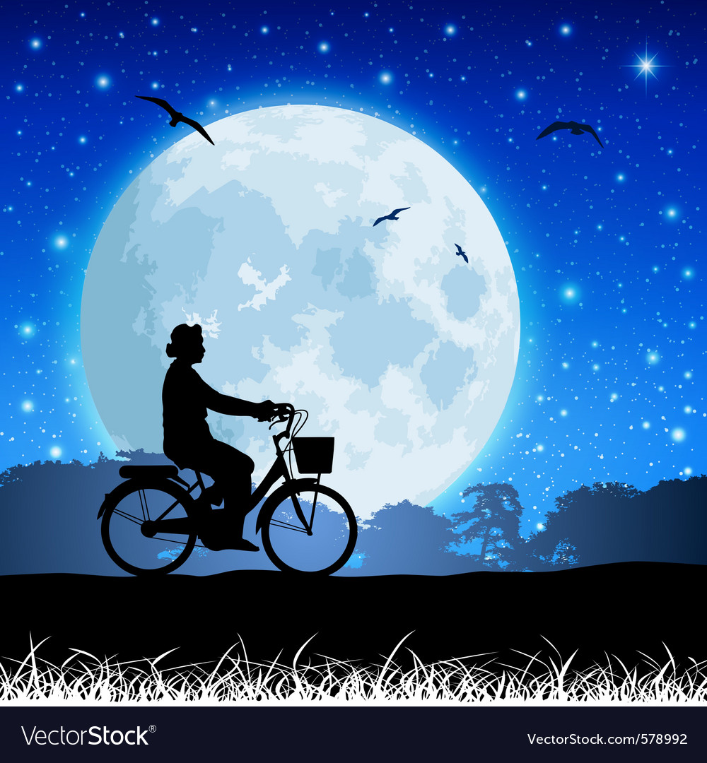 Bicycle and moon vector | Price: 1 Credit (USD $1)