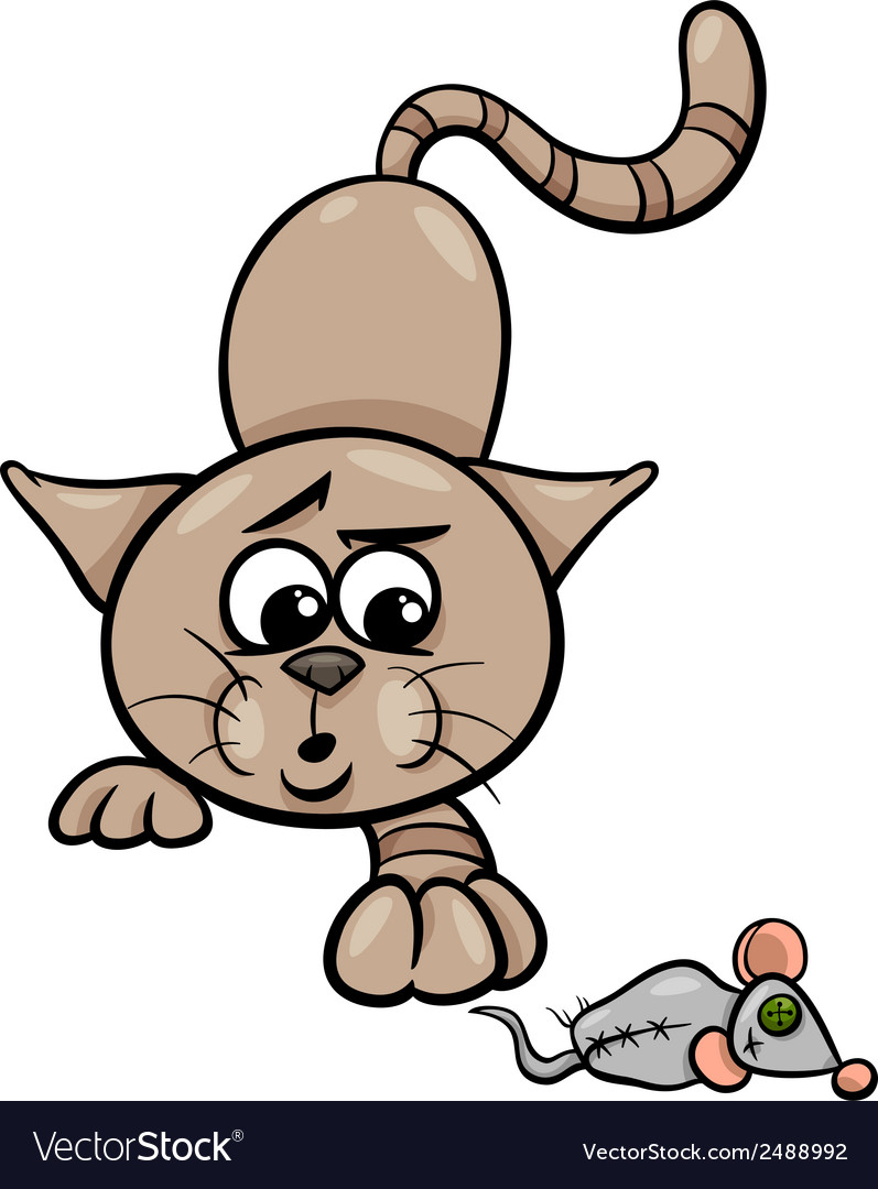 Cat with toy mouse cartoon vector | Price: 1 Credit (USD $1)