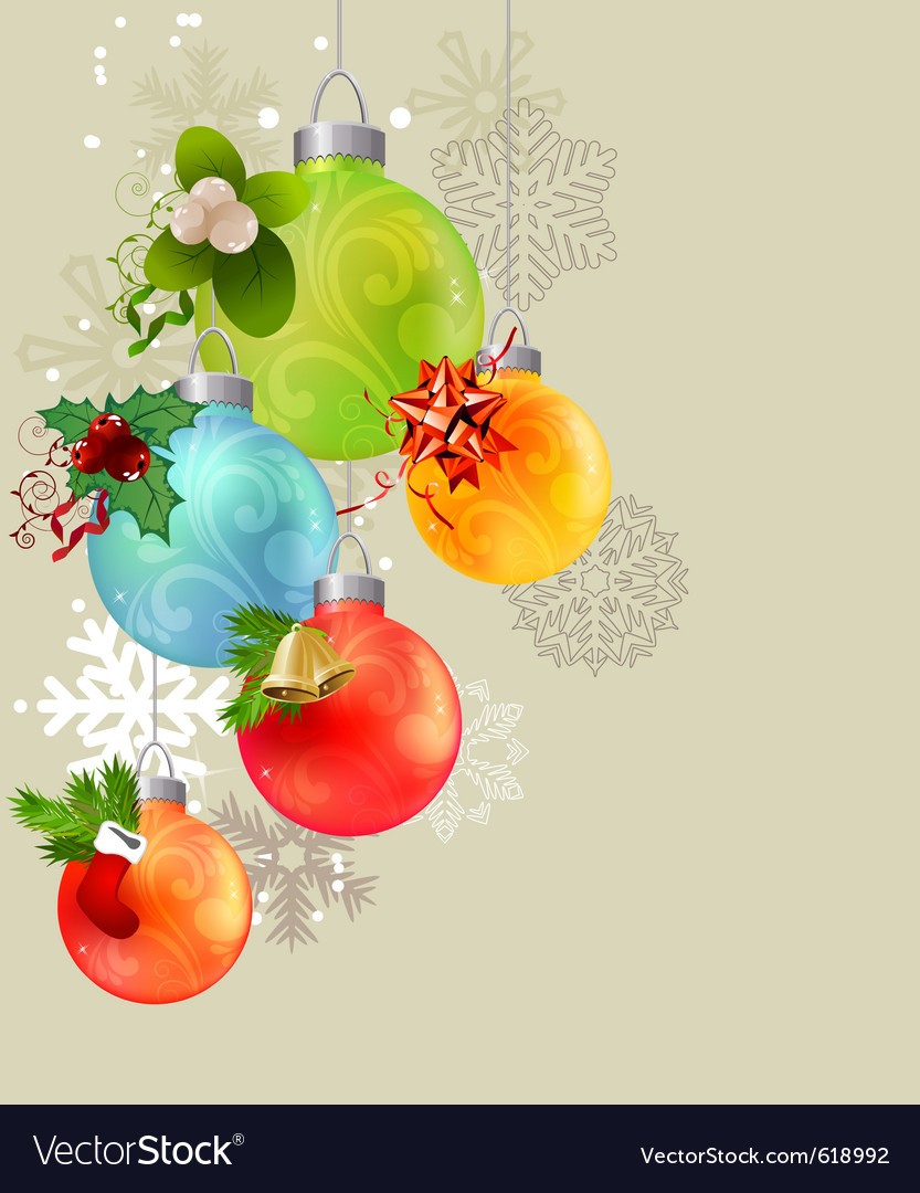 Christmas background with glass balls vector | Price: 1 Credit (USD $1)