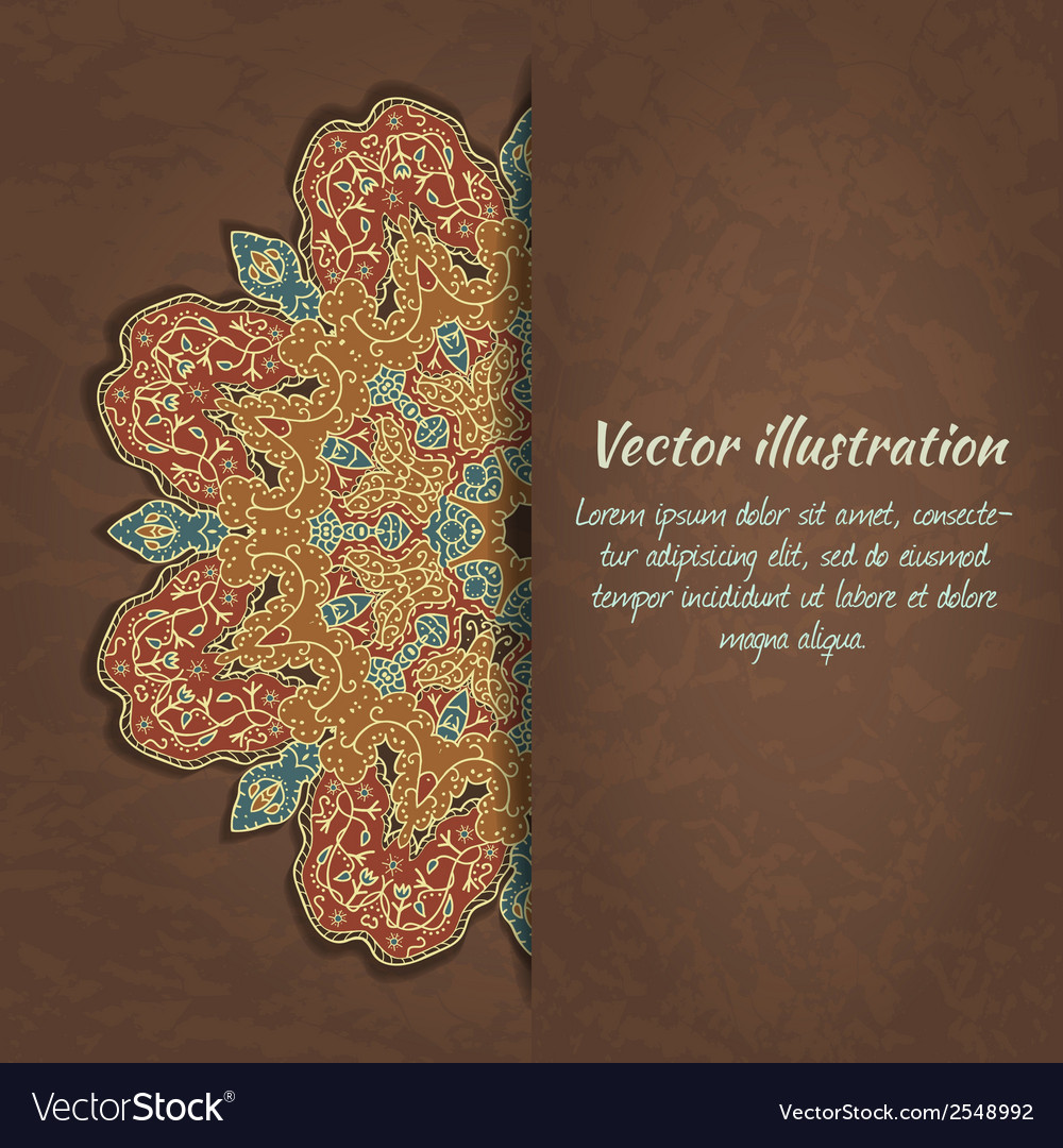 Colorful card with ethnic ornament on grunge vector | Price: 1 Credit (USD $1)