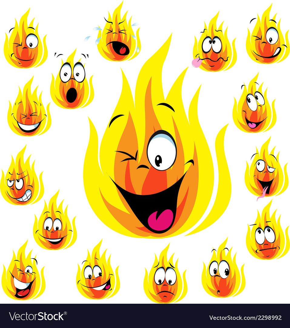 Fire cartoon with many expressions vector | Price: 1 Credit (USD $1)