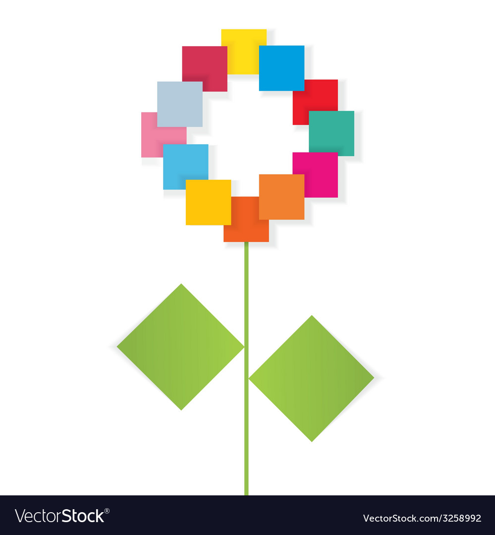 The flower is built from color paper on a white vector | Price: 1 Credit (USD $1)