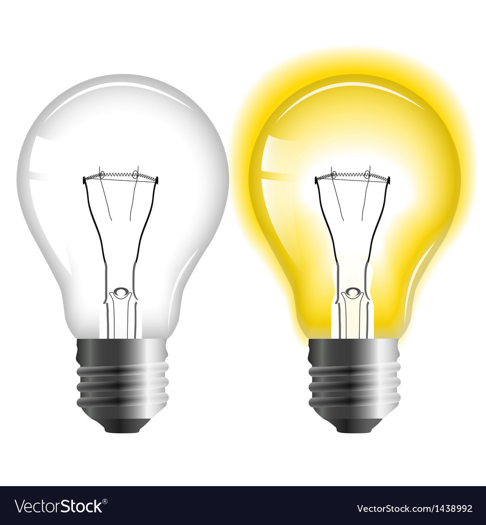 Glowing and turned off light bulb vector | Price: 1 Credit (USD $1)