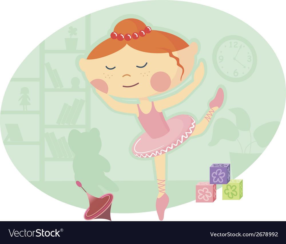 Little ballerina in pink tutu dress vector | Price: 1 Credit (USD $1)