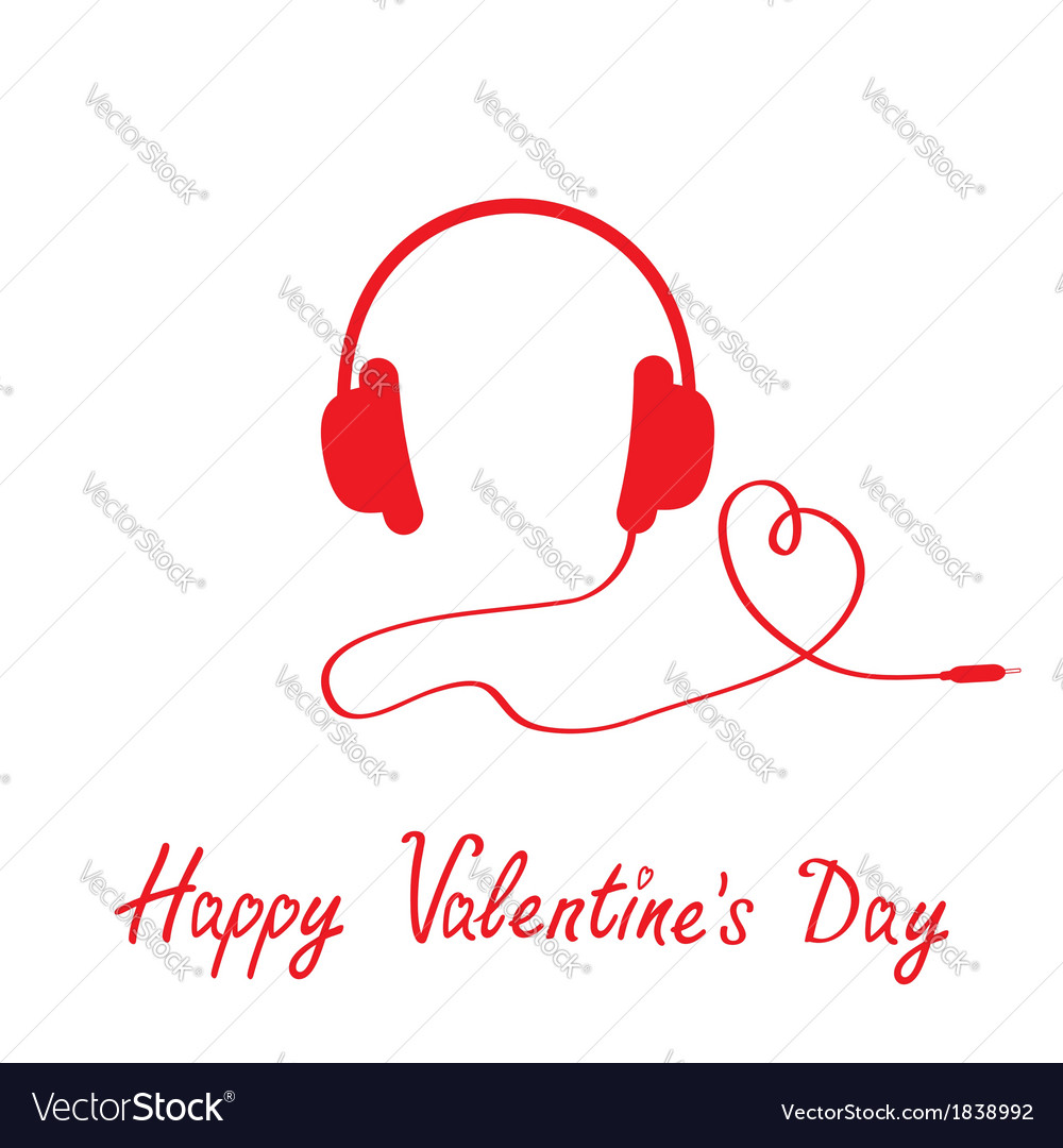 Red headphones and cord in shape of heart vector | Price: 1 Credit (USD $1)