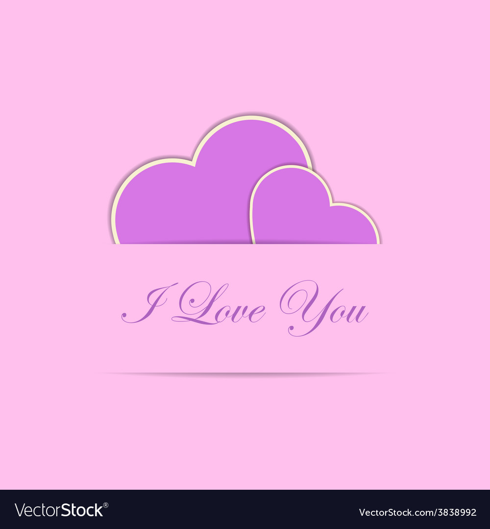 Valentine card with two pink hearts vector | Price: 1 Credit (USD $1)