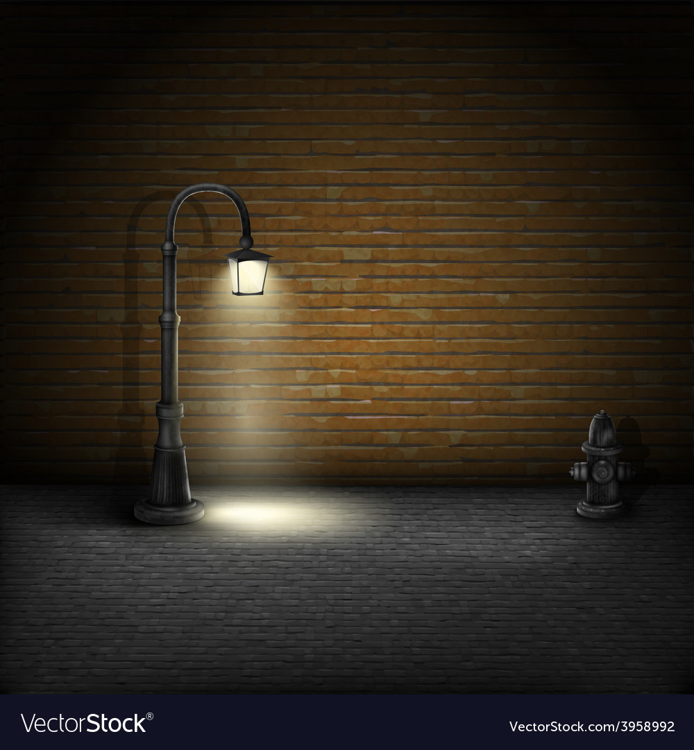 Vintage streetlamp on brick wall background vector | Price: 3 Credit (USD $3)
