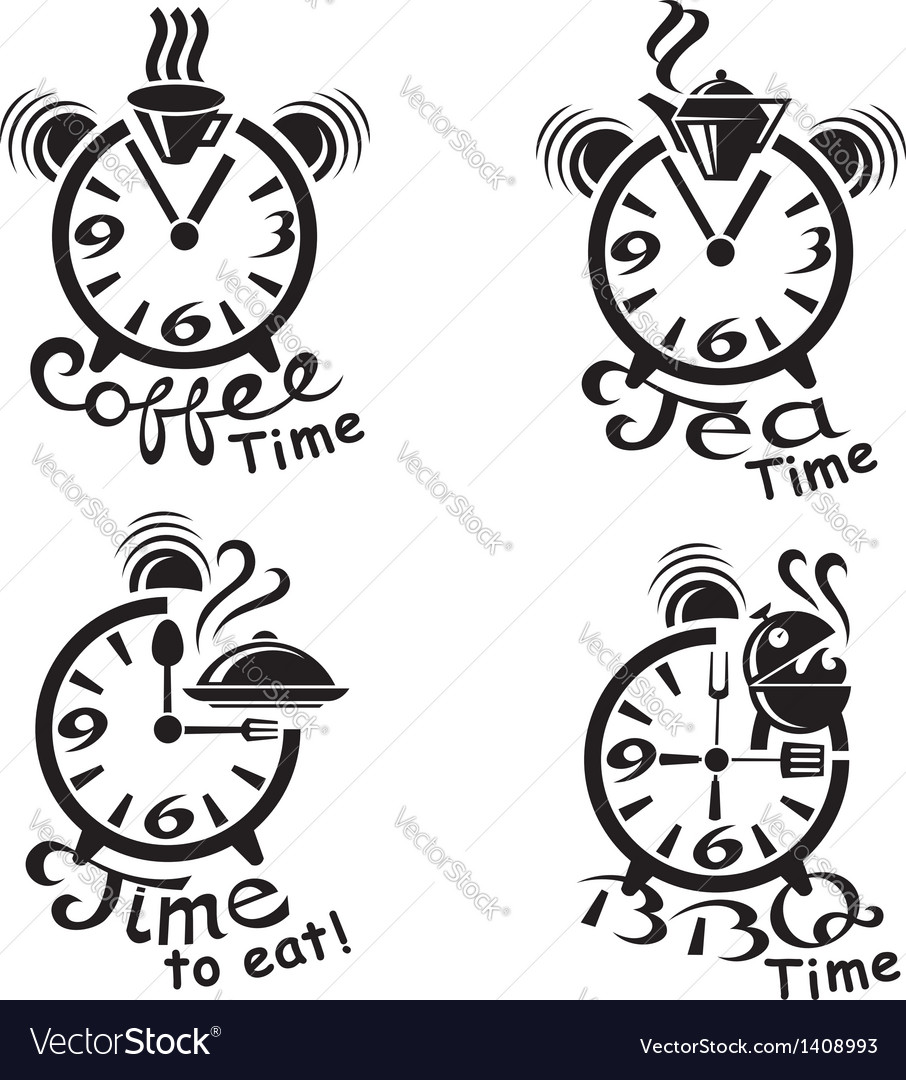 Clocks and different food and drinks vector | Price: 1 Credit (USD $1)