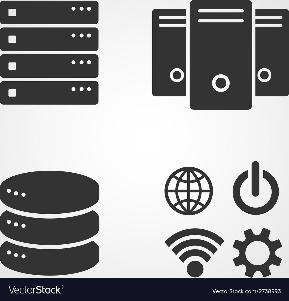 Computer server icons set flat design vector | Price: 1 Credit (USD $1)