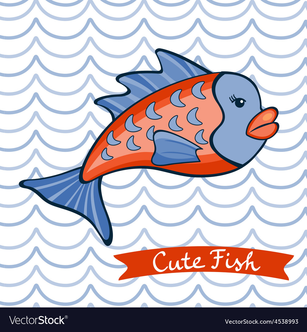 Cute fish character vector | Price: 1 Credit (USD $1)