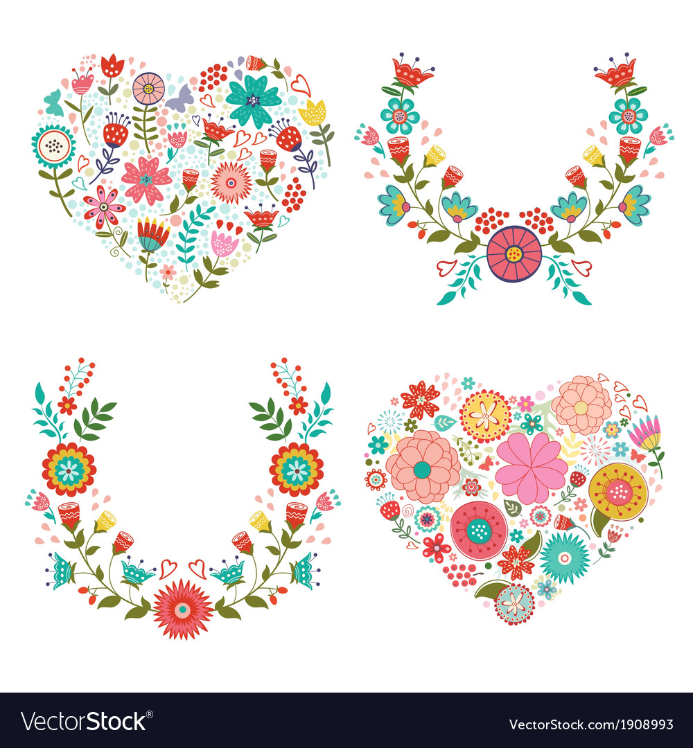 Floral wreaths and hearts collection vector | Price: 1 Credit (USD $1)