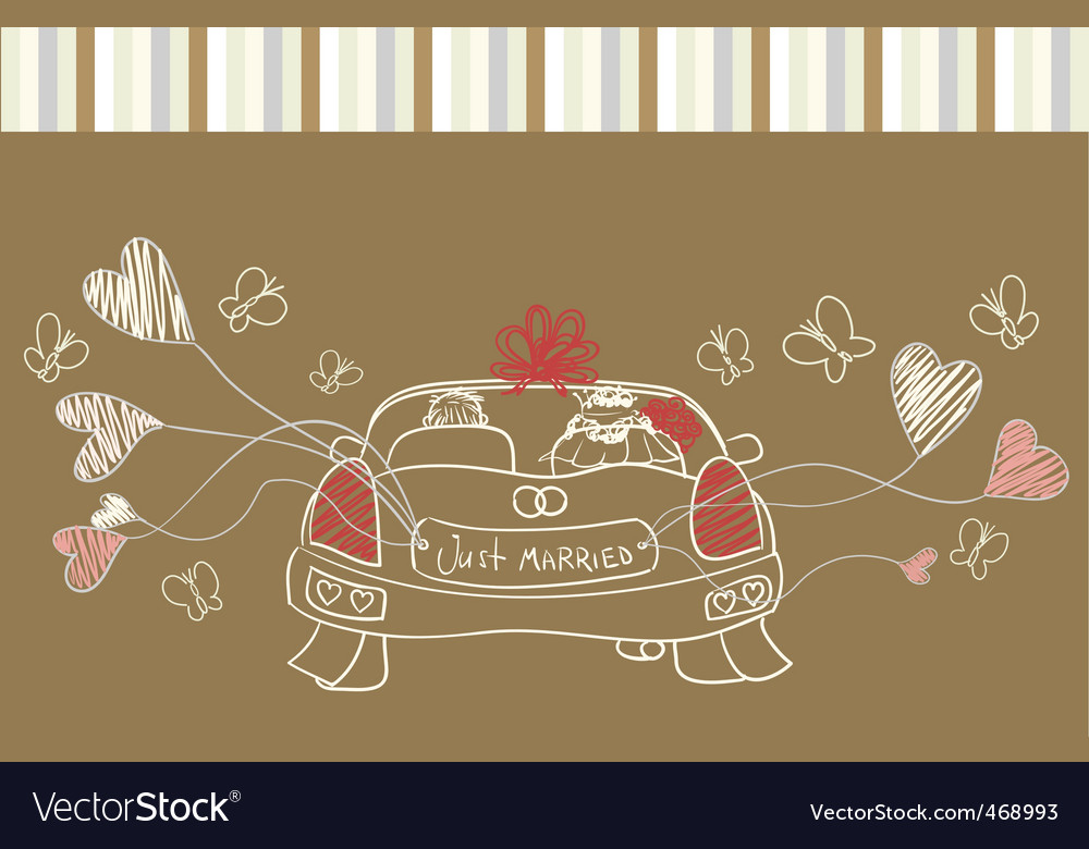 Just married auto vector | Price: 1 Credit (USD $1)