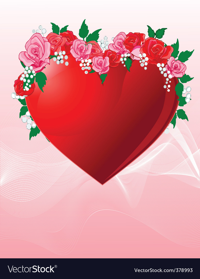 Love heart with roses vector | Price: 1 Credit (USD $1)