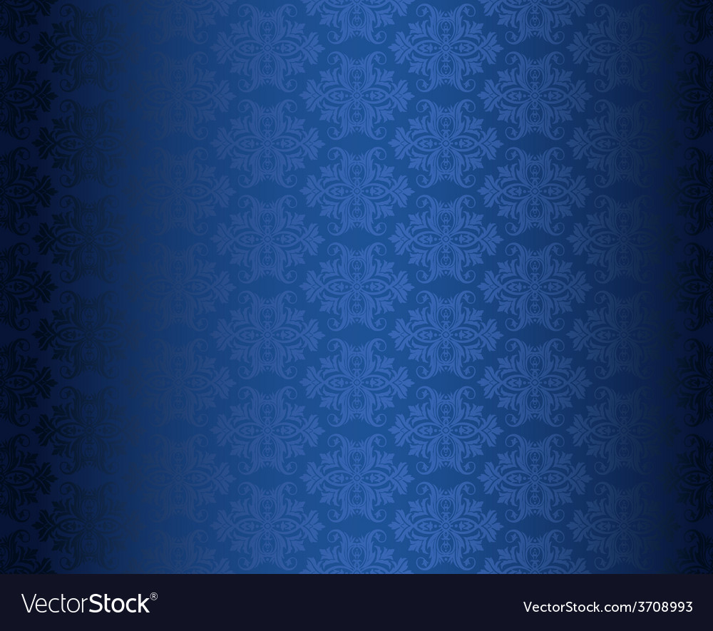 Luxury seamless blue floral wallpaper vector | Price: 1 Credit (USD $1)