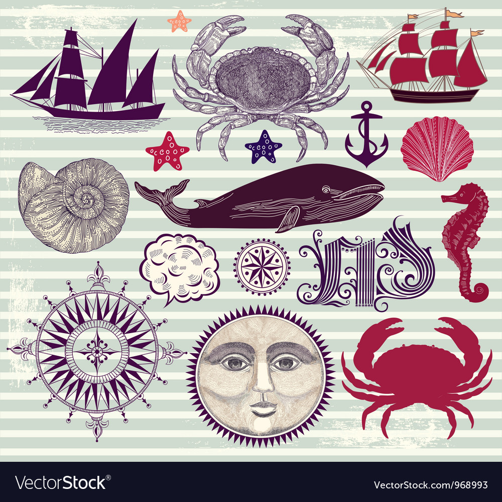 Marine objects vector | Price: 3 Credit (USD $3)
