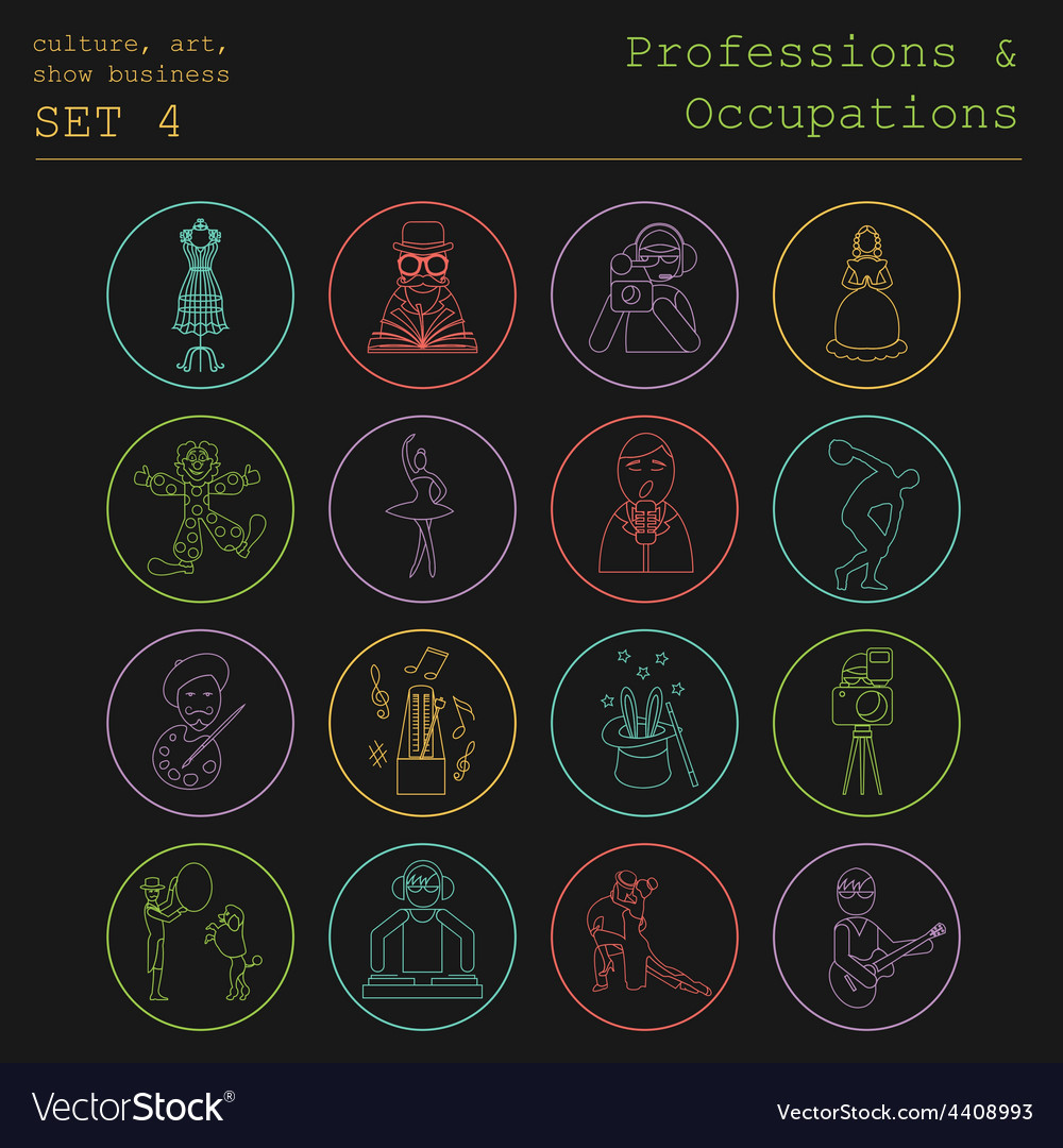 Professions and occupations outline icon set vector | Price: 1 Credit (USD $1)