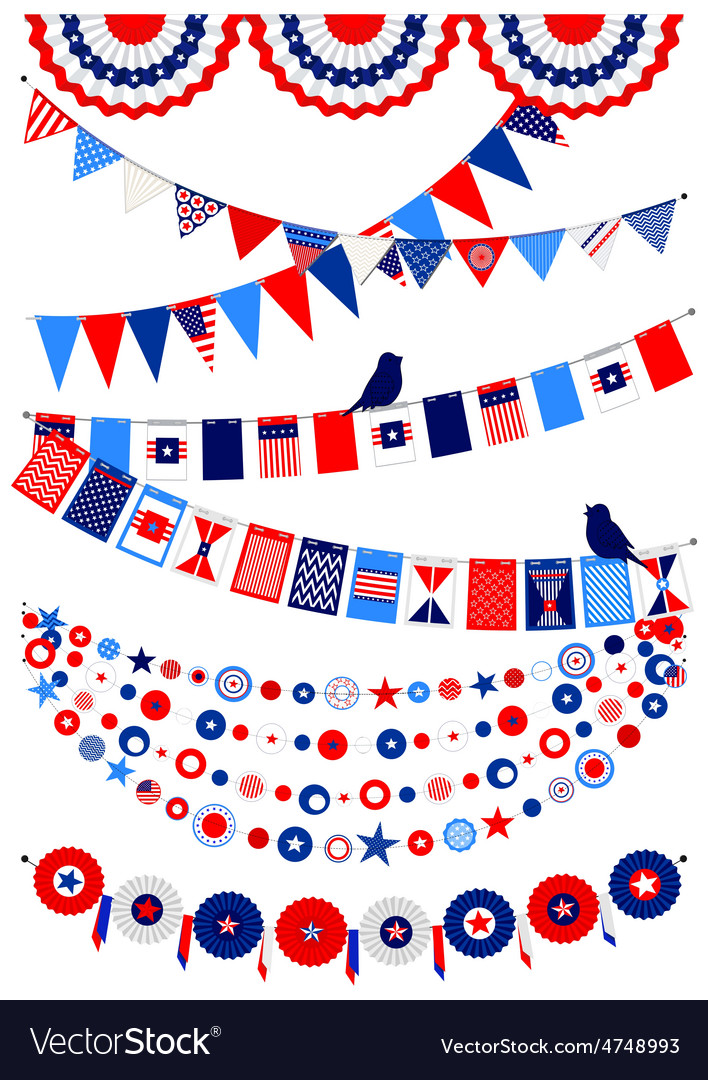 Set american decorations vector | Price: 1 Credit (USD $1)