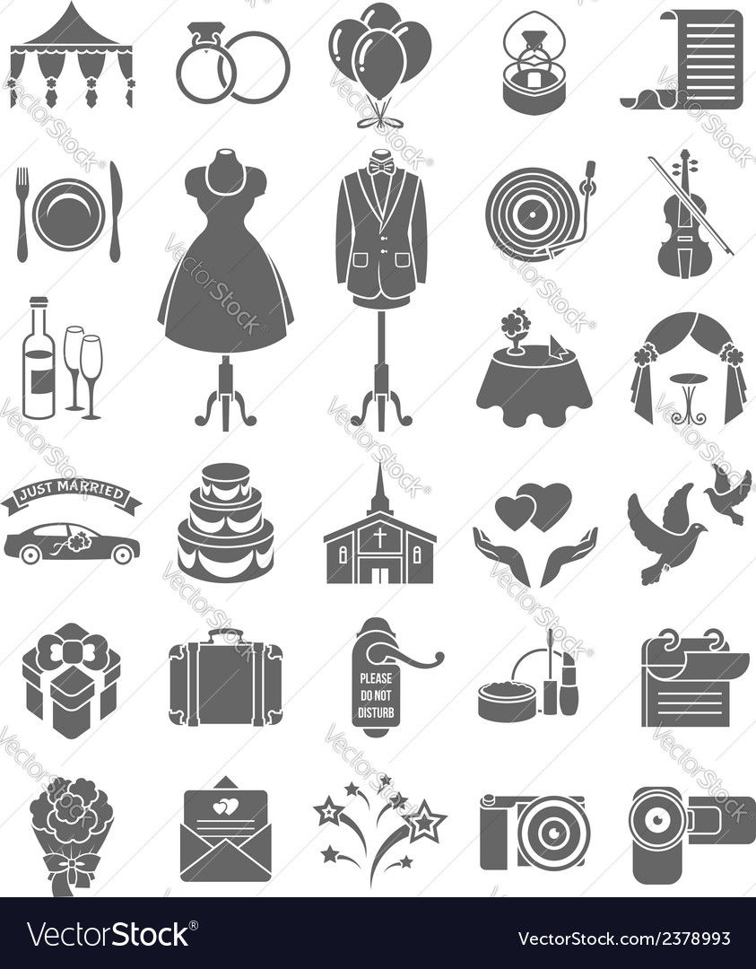 Wedding icons dark silhouettes vector | Price: 1 Credit (USD $1)