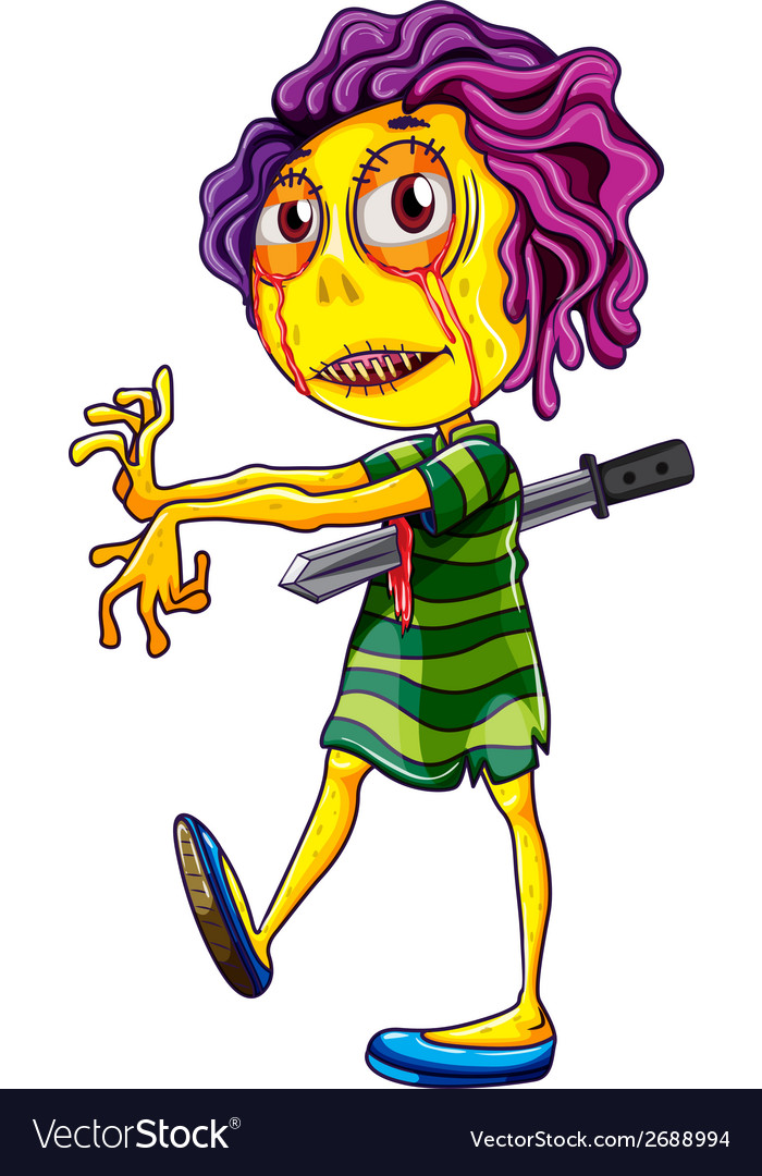 A scary young zombie walking vector | Price: 3 Credit (USD $3)