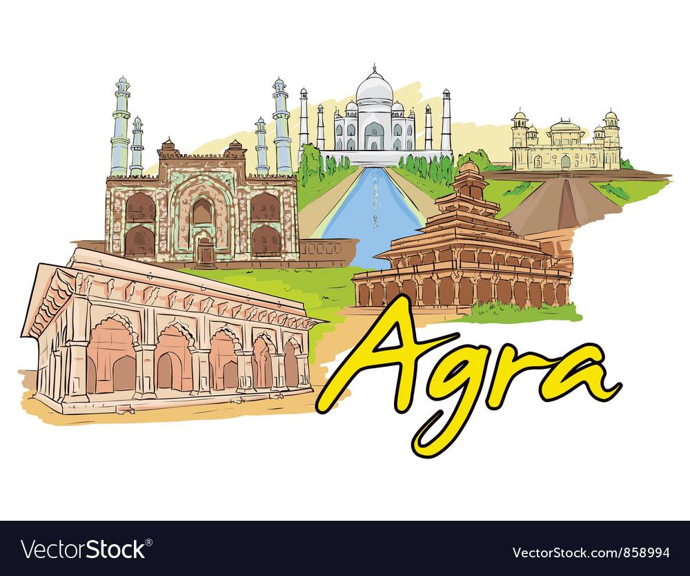 Agra doodles vector | Price: 3 Credit (USD $3)