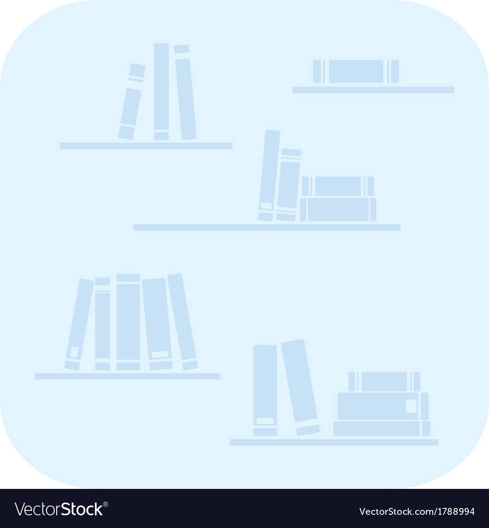 Books on the shelves - simply blue vector | Price: 1 Credit (USD $1)