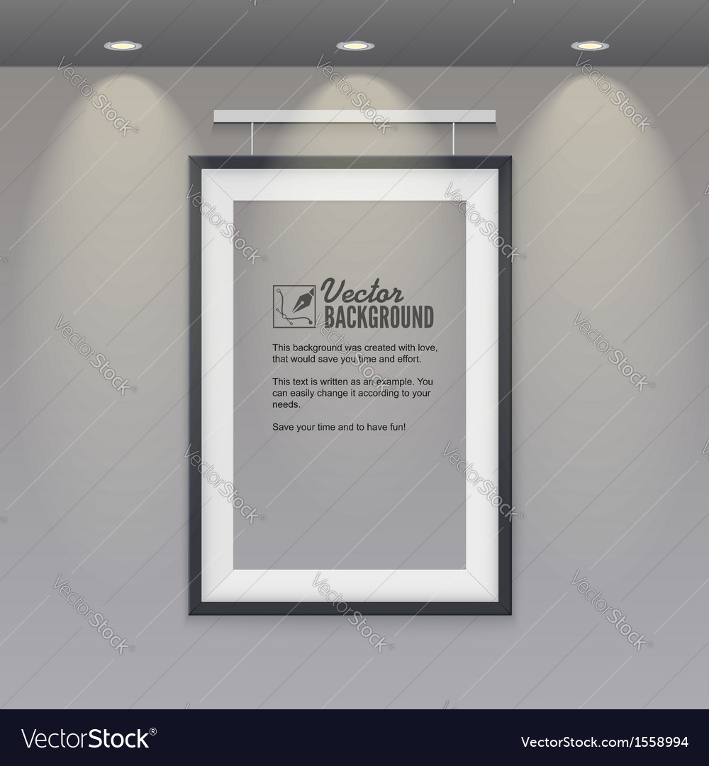 Empty frame to the wall with lights vector | Price: 1 Credit (USD $1)