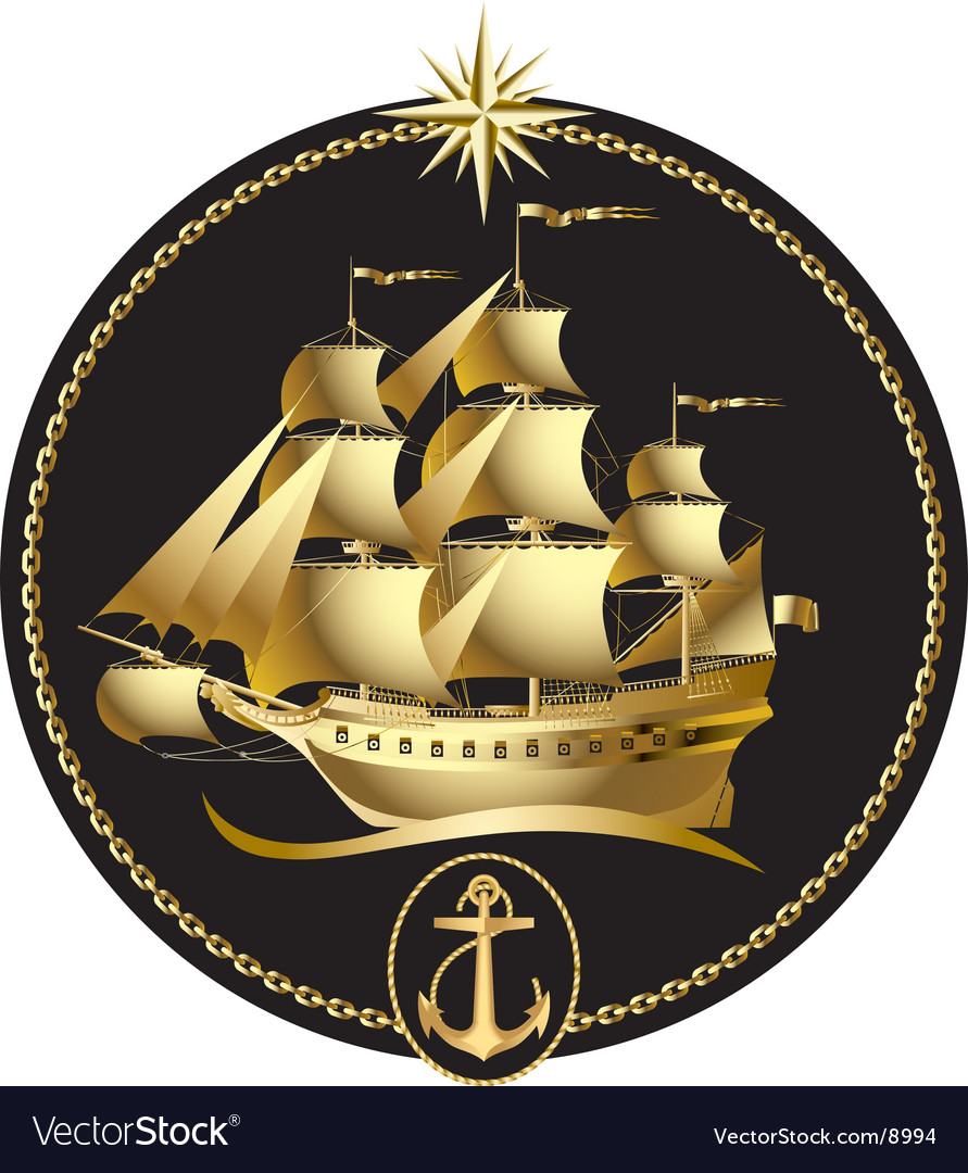 Gold sailing ship vector | Price: 5 Credit (USD $5)