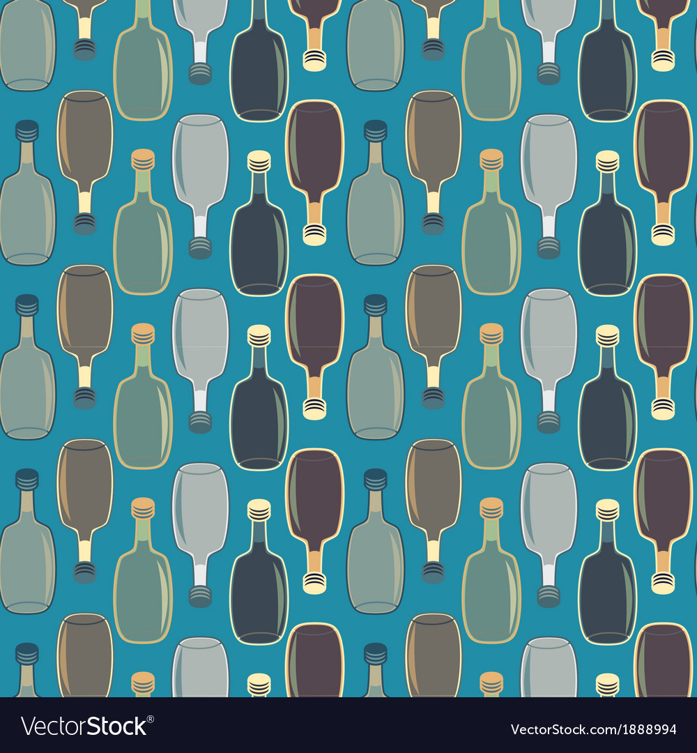 Seamless alcohol bottles pattern on blue vector | Price: 1 Credit (USD $1)