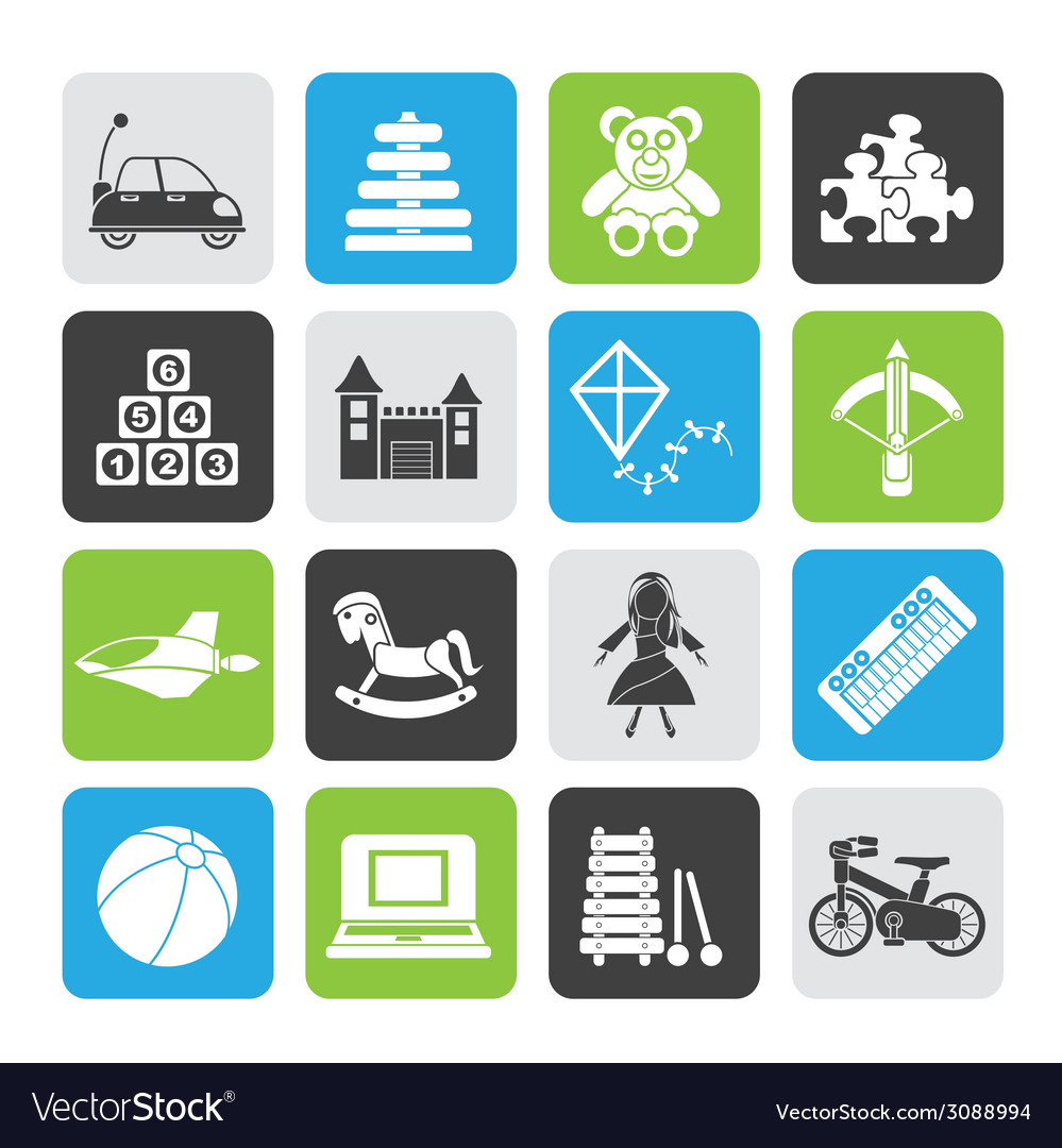 Silhouette different kind of toys icons vector | Price: 1 Credit (USD $1)
