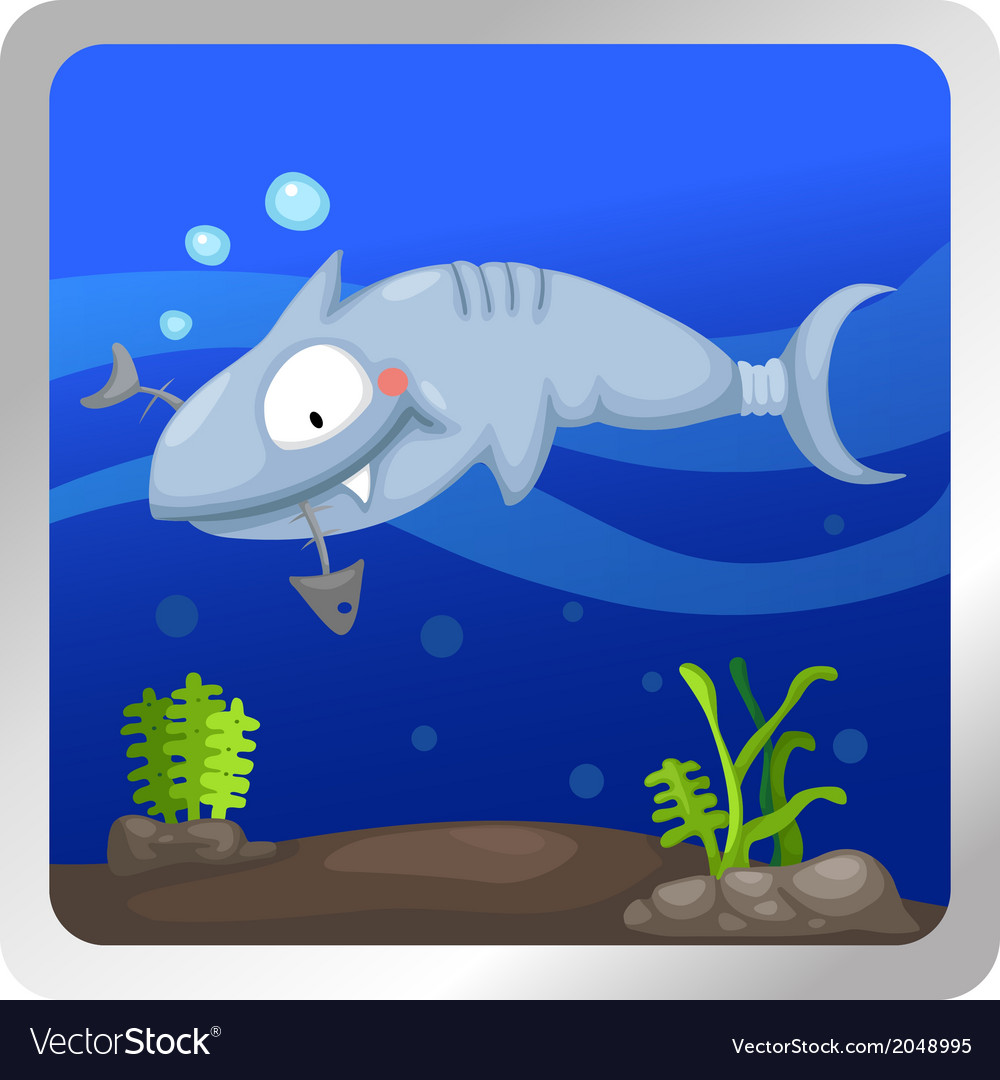 A shark underwater background vect vector | Price: 1 Credit (USD $1)