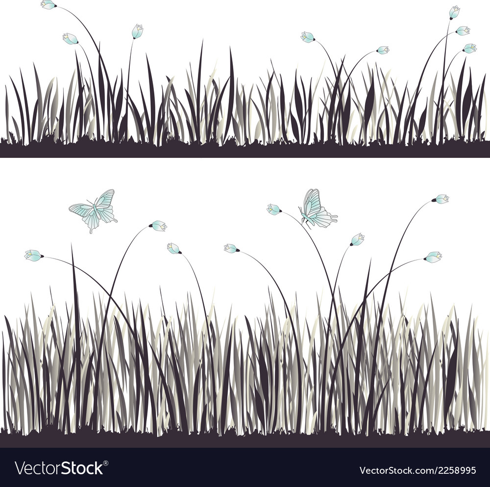 Background grass with butterflies vector | Price: 1 Credit (USD $1)