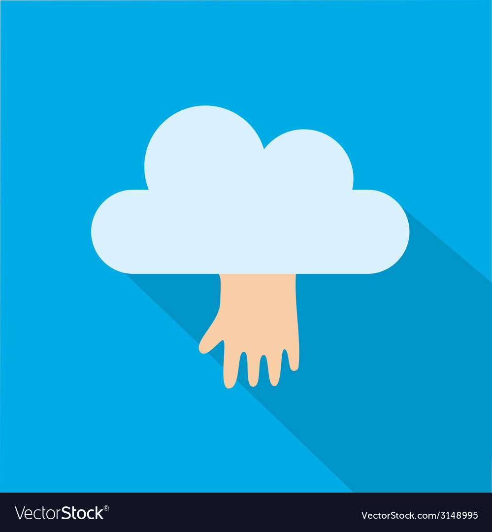 Cloud icon with hand isolated on blue background vector | Price: 1 Credit (USD $1)