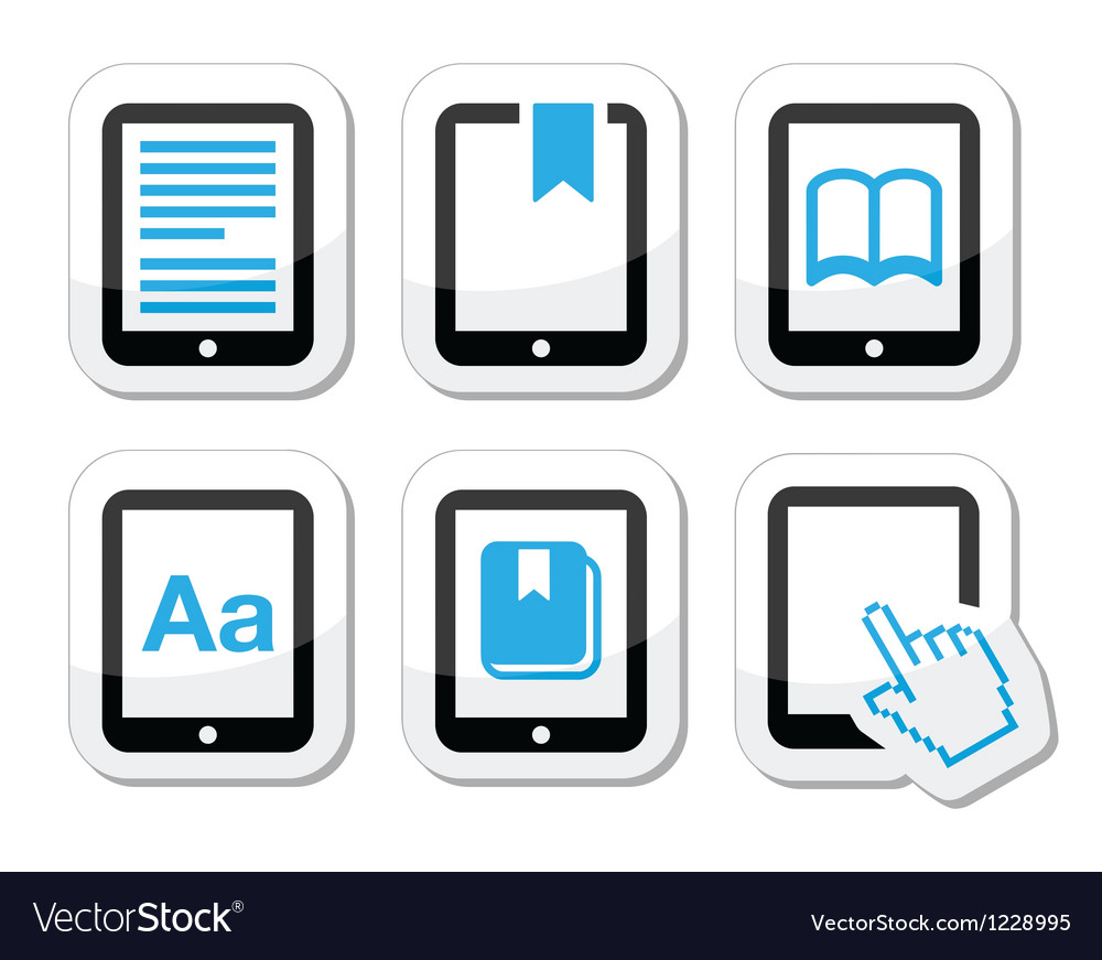 E-book reader e-reader icons set vector | Price: 1 Credit (USD $1)