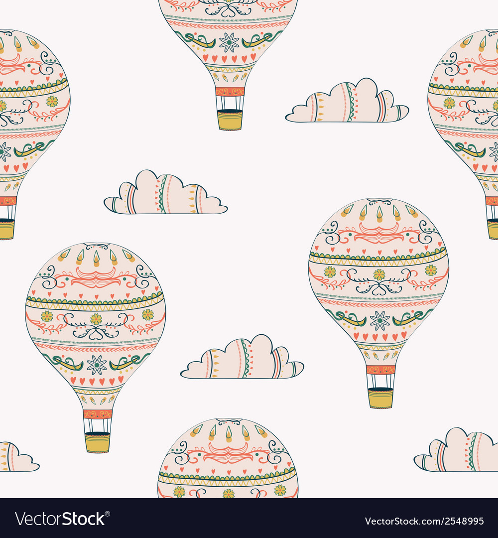 Seamless pattern with hot air balloon and clouds vector | Price: 1 Credit (USD $1)