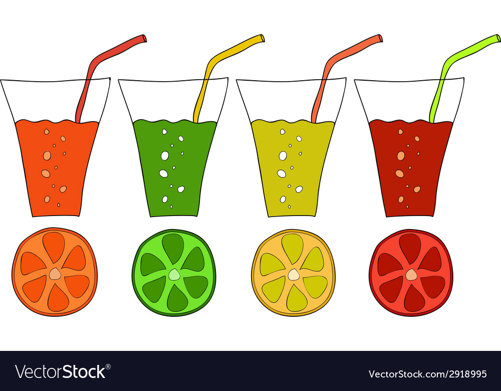Set of doodle glasses of citrus juice vector | Price: 1 Credit (USD $1)