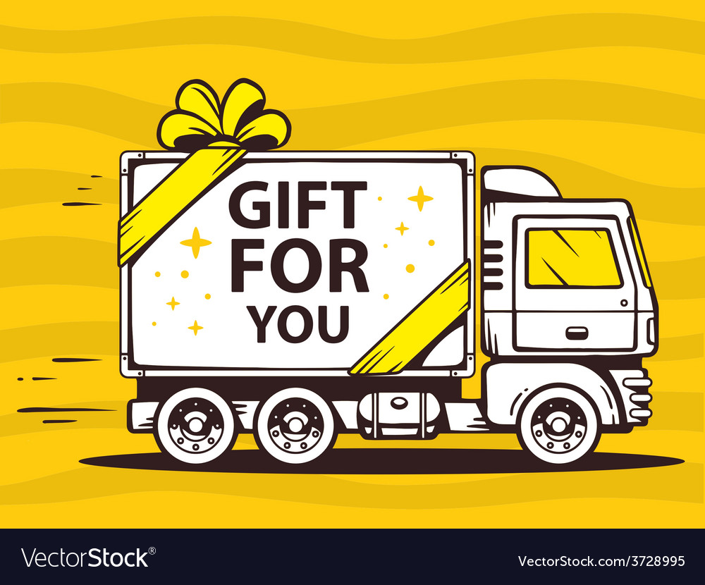 Truck free and fast delivering gift to cu vector | Price: 1 Credit (USD $1)
