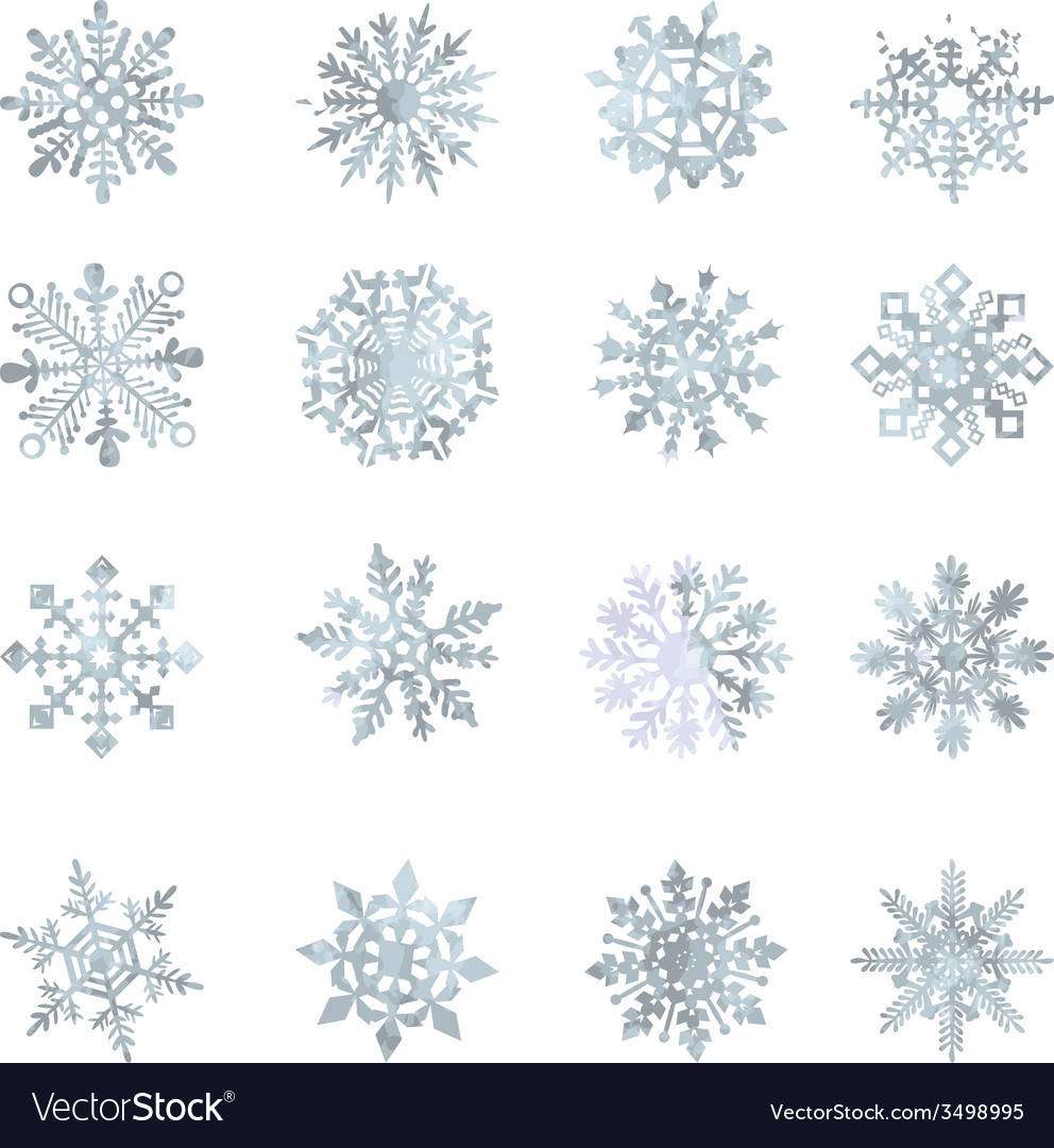 Watercolor snowflakes  star symbol graphic crystal vector | Price: 1 Credit (USD $1)