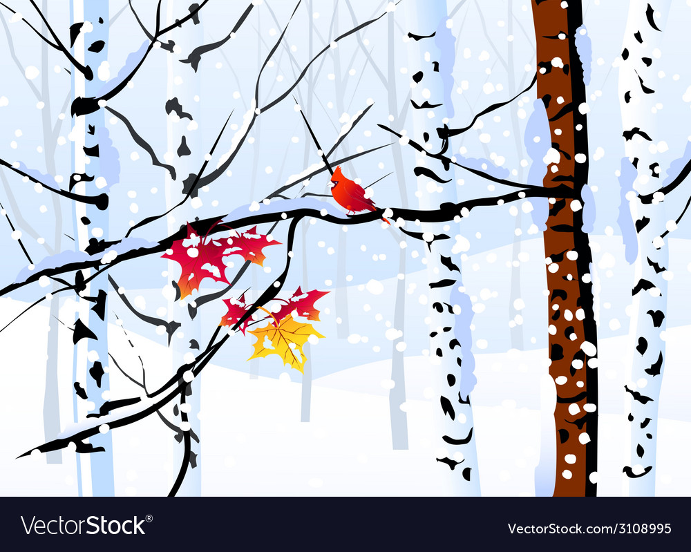 Winter forest and winter landscape vector | Price: 1 Credit (USD $1)