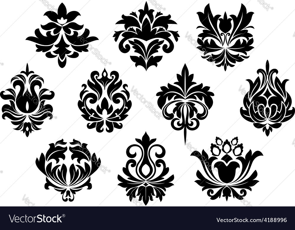 Black floral and arabesque elements vector | Price: 1 Credit (USD $1)