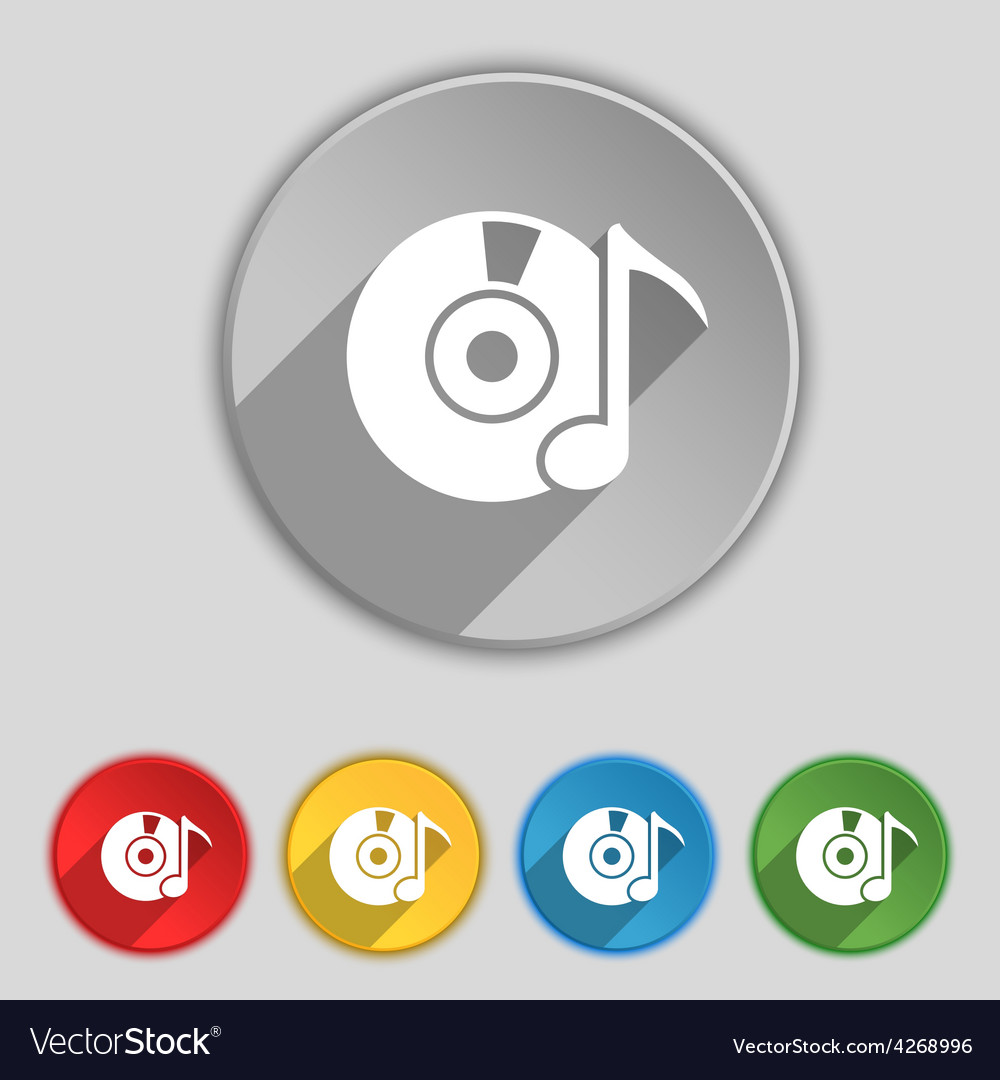 Cd or dvd icon sign symbol on five flat buttons vector | Price: 1 Credit (USD $1)