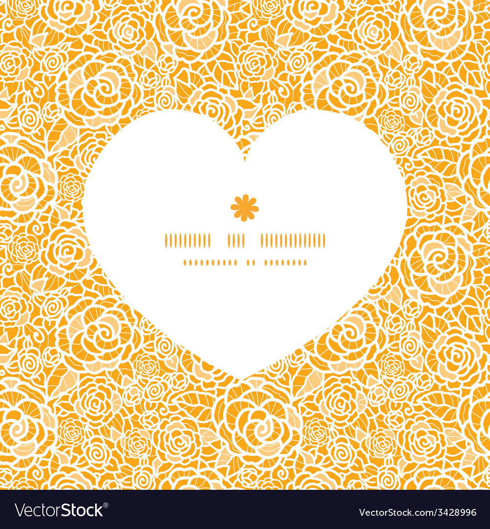 Golden lace roses heart silhouette pattern frame vector | Price: 1 Credit (USD $1)