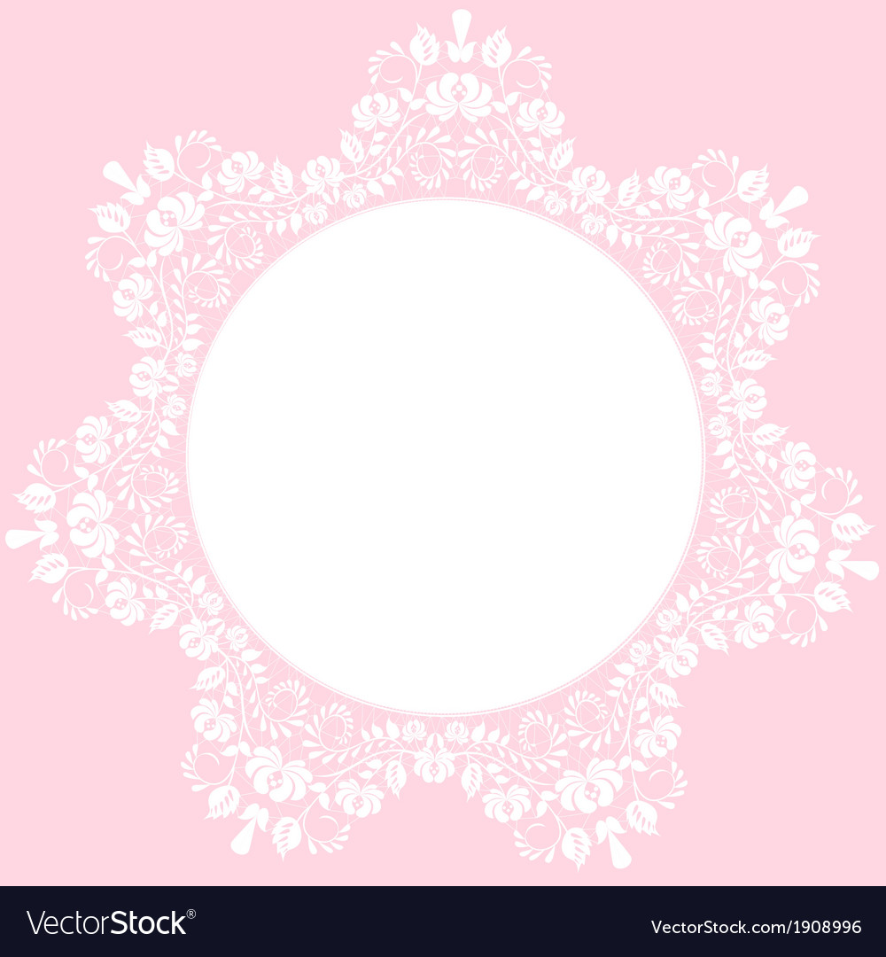 Lace round frame on pink background vector | Price: 1 Credit (USD $1)