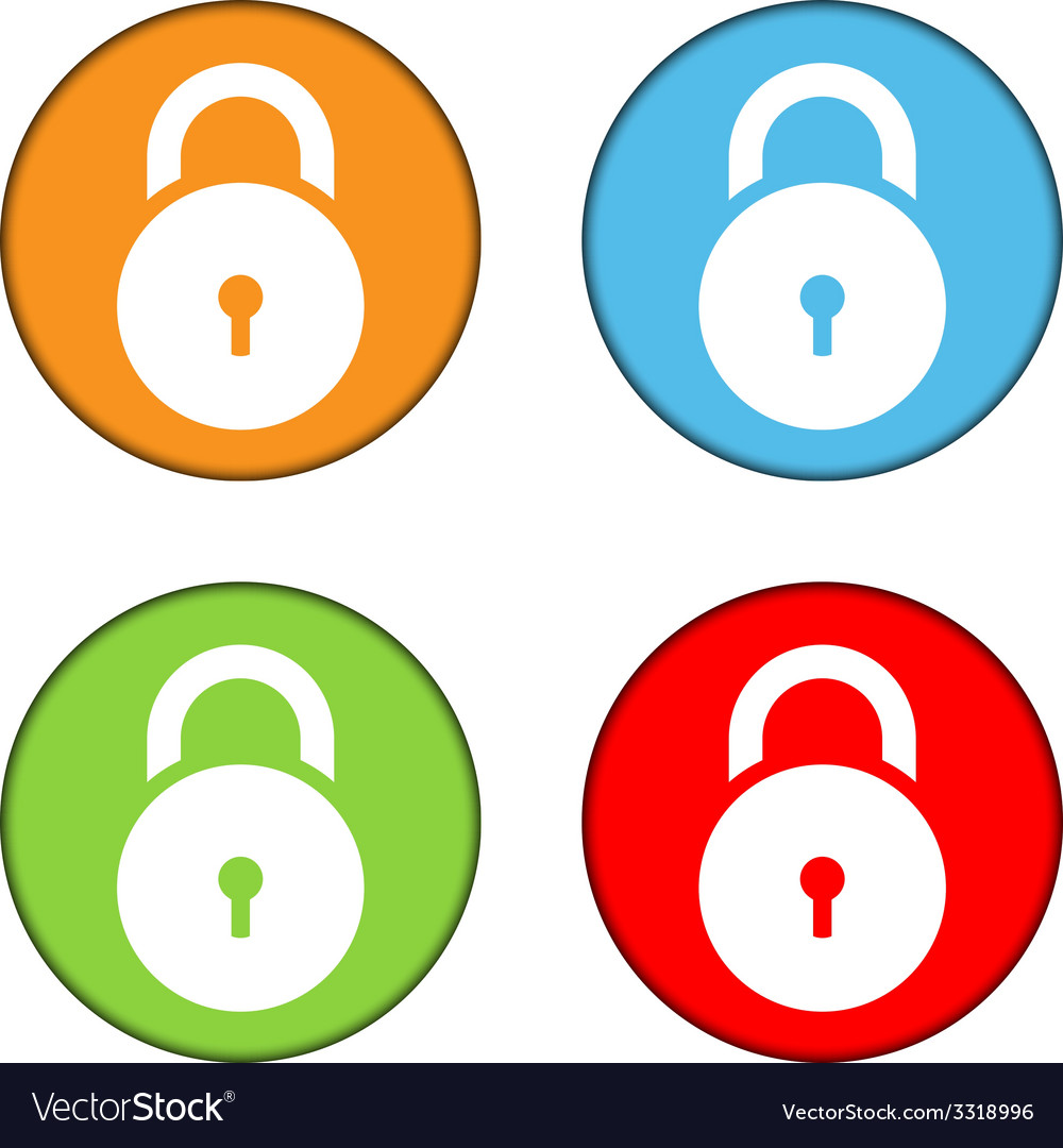 Lock symbol buttons set vector | Price: 1 Credit (USD $1)