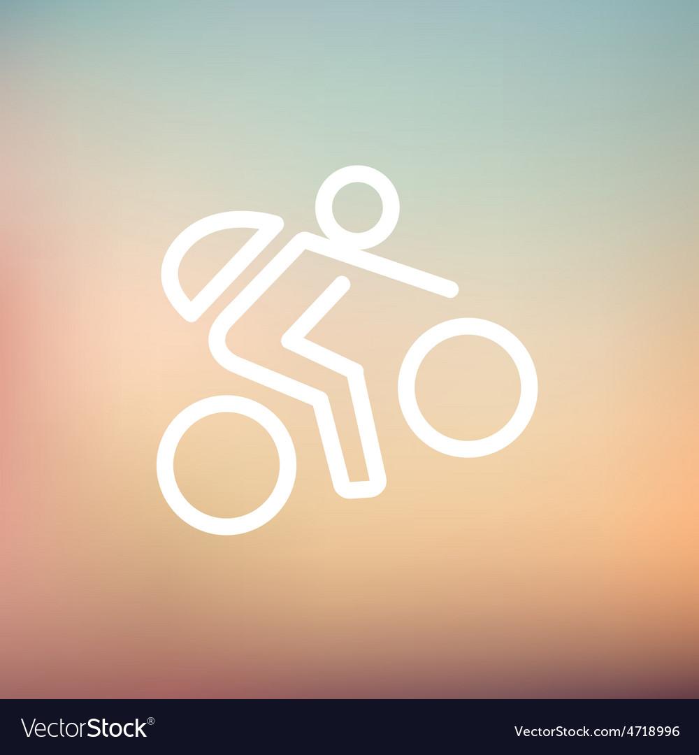 Mountain bike rider thin line icon vector | Price: 1 Credit (USD $1)