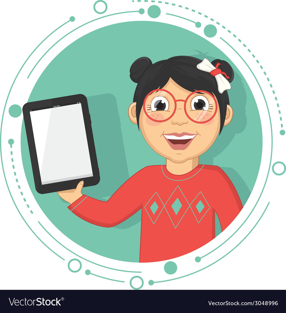 Of a girl with a tablet vector | Price: 1 Credit (USD $1)