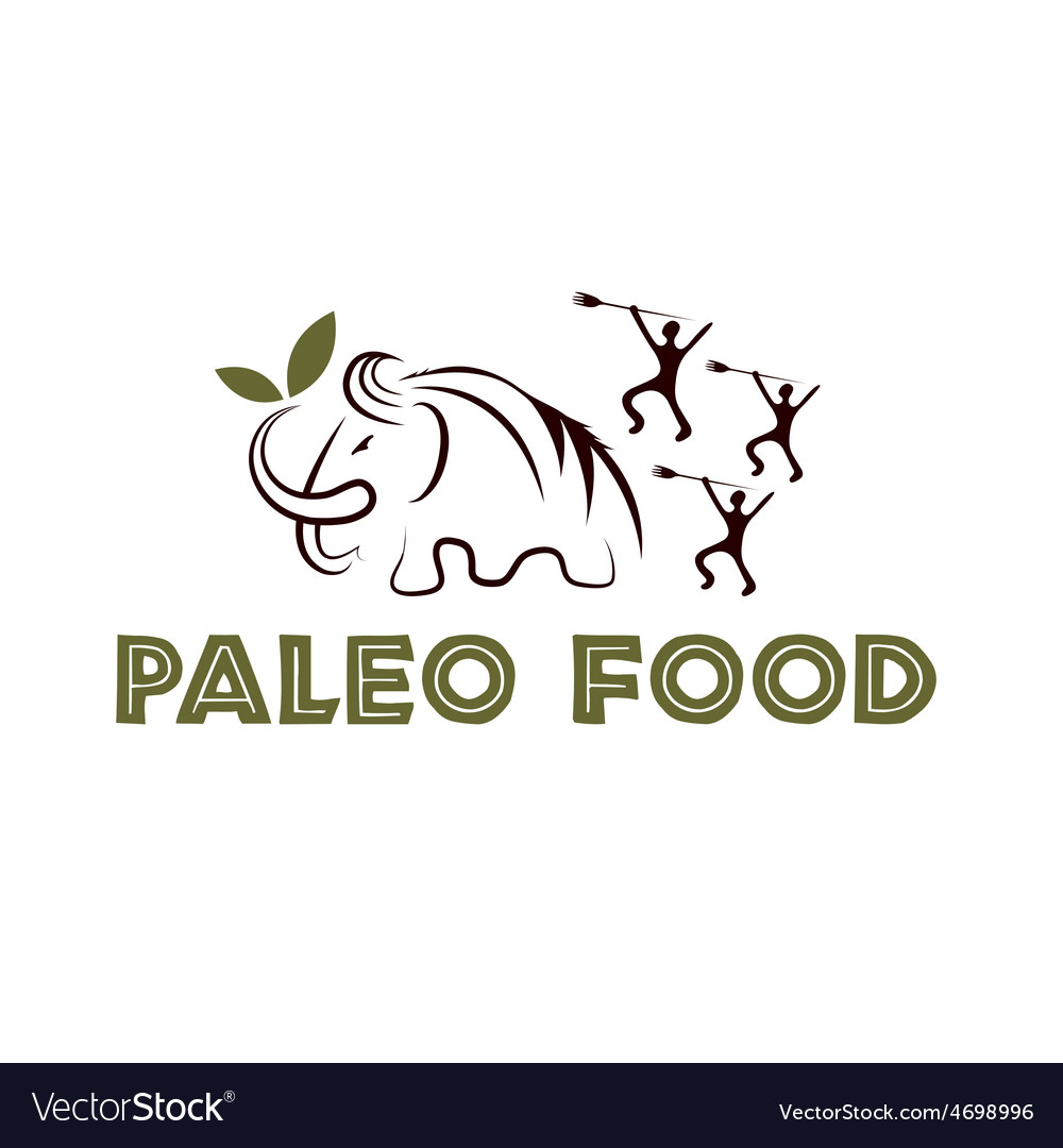 Paleo food with mammoth and cavemans vector | Price: 1 Credit (USD $1)