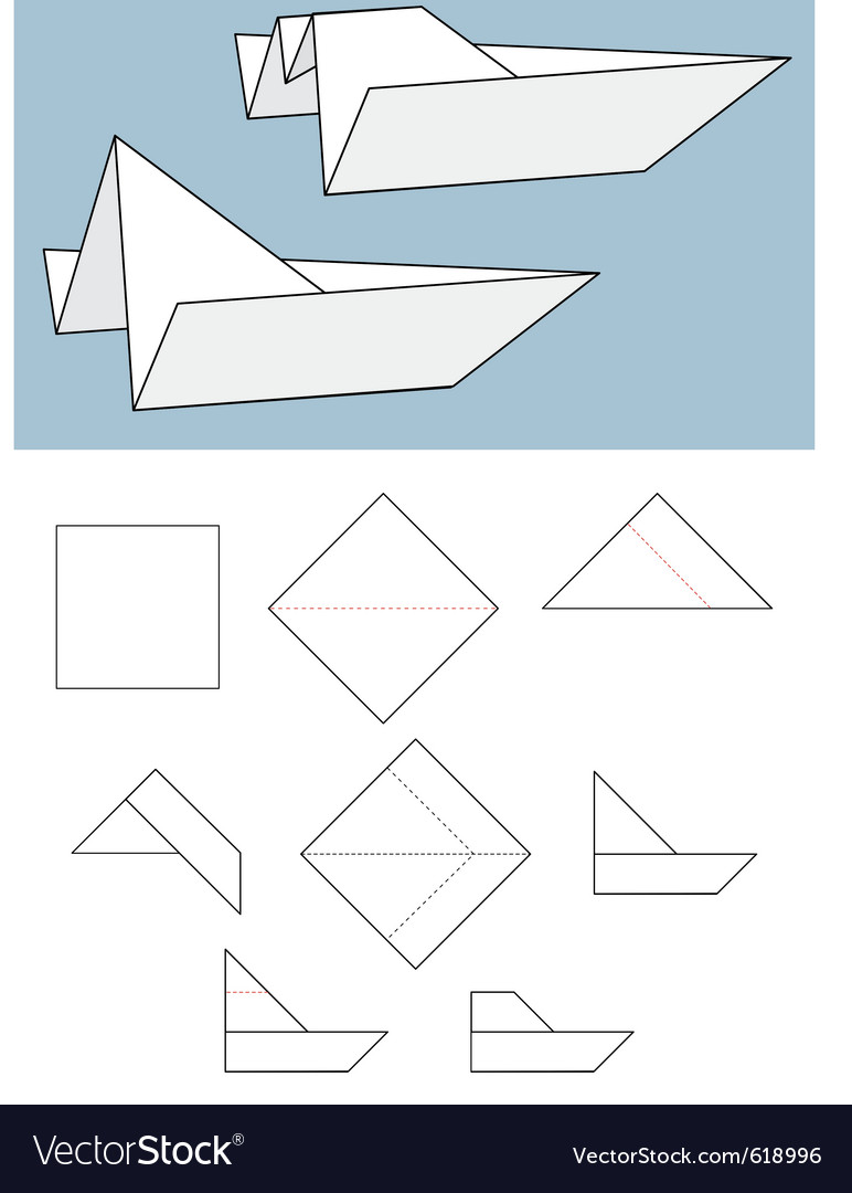 Paper boat origami vector | Price: 1 Credit (USD $1)