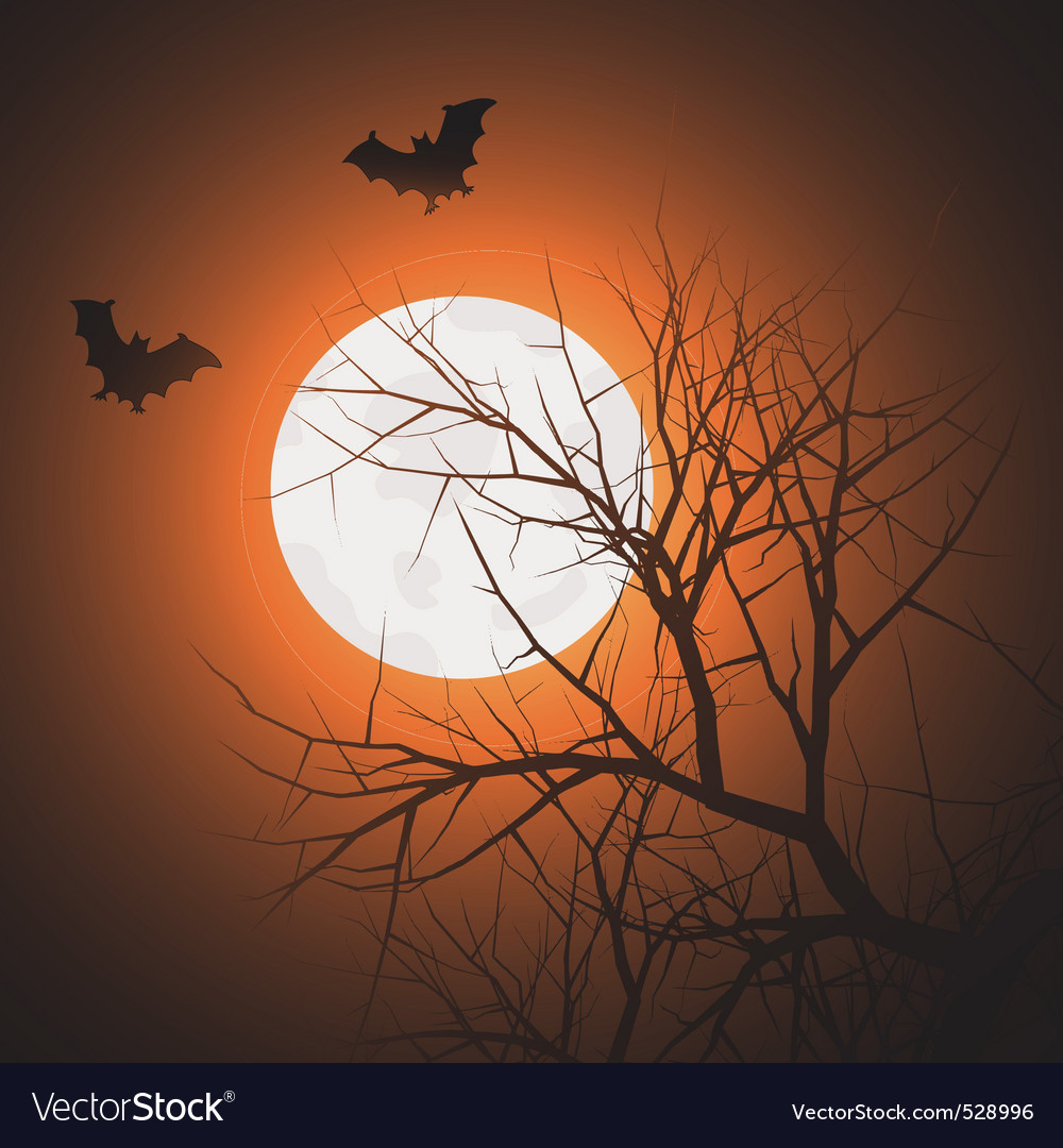 Silhouette of tree and bats in the sky at night ti vector | Price: 1 Credit (USD $1)