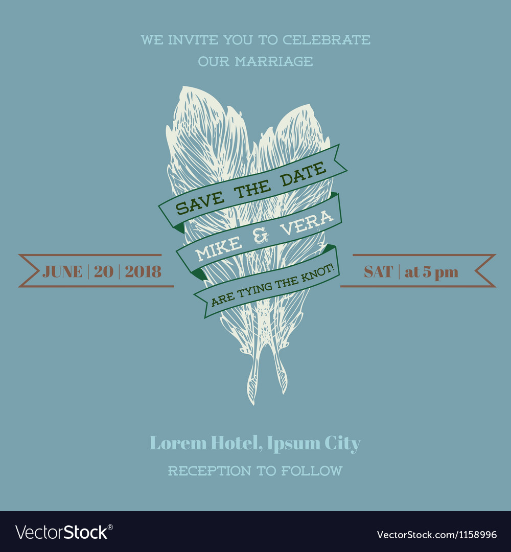 Wedding vintage invitation card - feather theme vector | Price: 1 Credit (USD $1)
